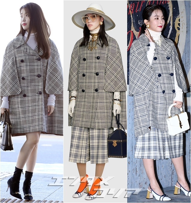 Singers IU, Seul-gi Find Different Ways to Make Most of Gucci Cape Coat