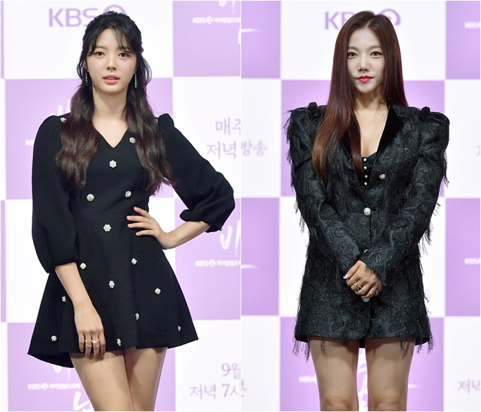 Actresses Uhm Hyun-kyung, Lee Chae-young Exude Different Charms in Black Mini Dresses
