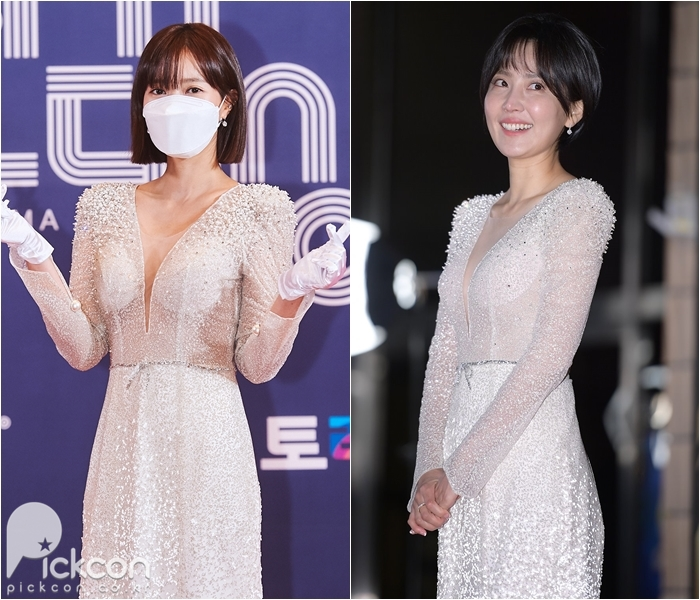 Actresses Lim Soo-hyang, Shin Dong-mi Get Elegant, Sexy Looks from Same Dress